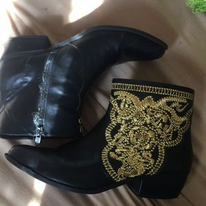 Forever 21 leather booties with gold embroidery